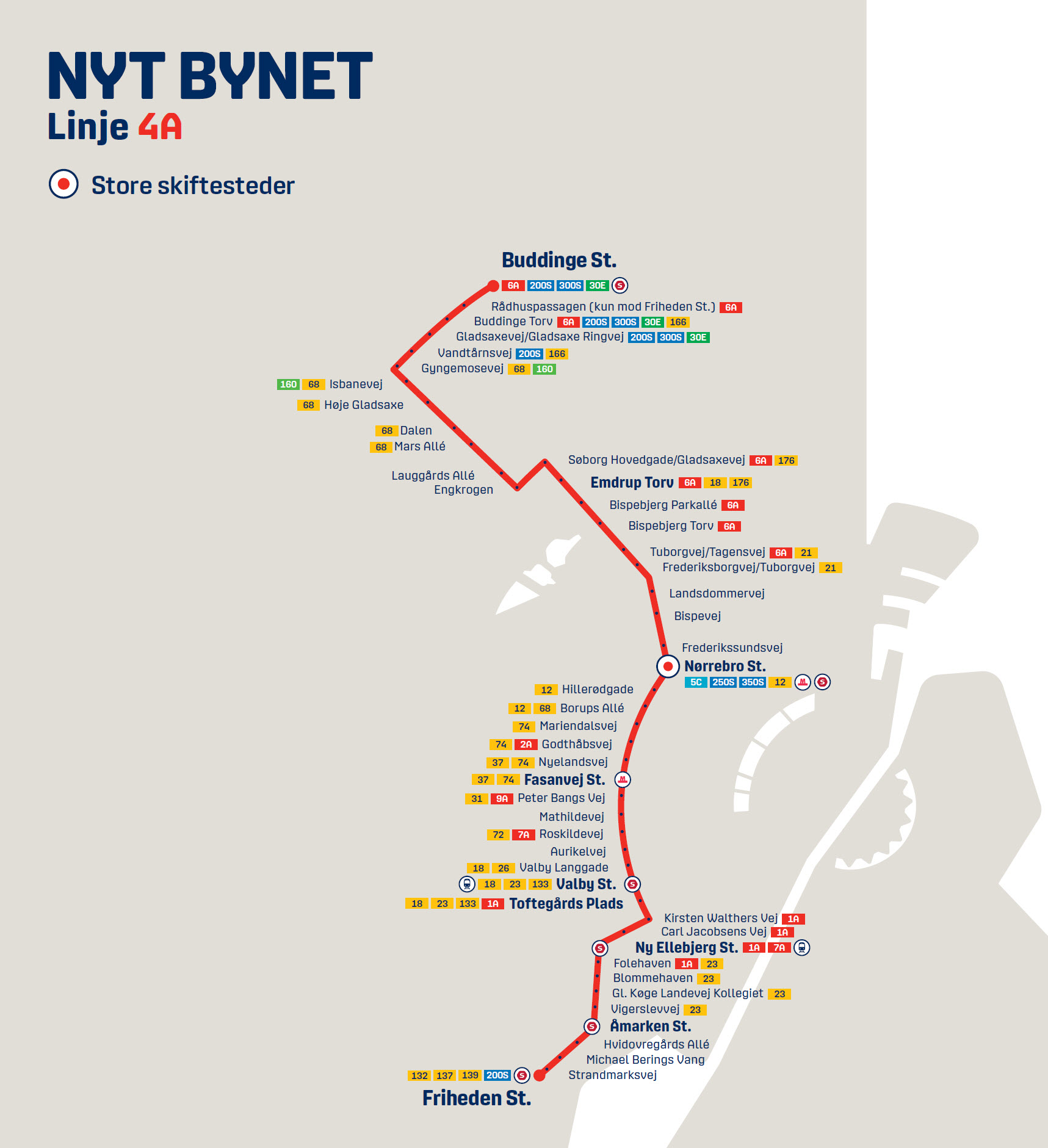 Map of the new line 4A in Nyt Bynet