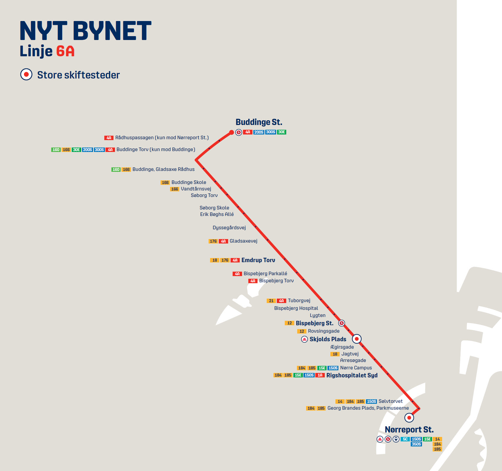 Map of the new line 6A in Nyt Bynet