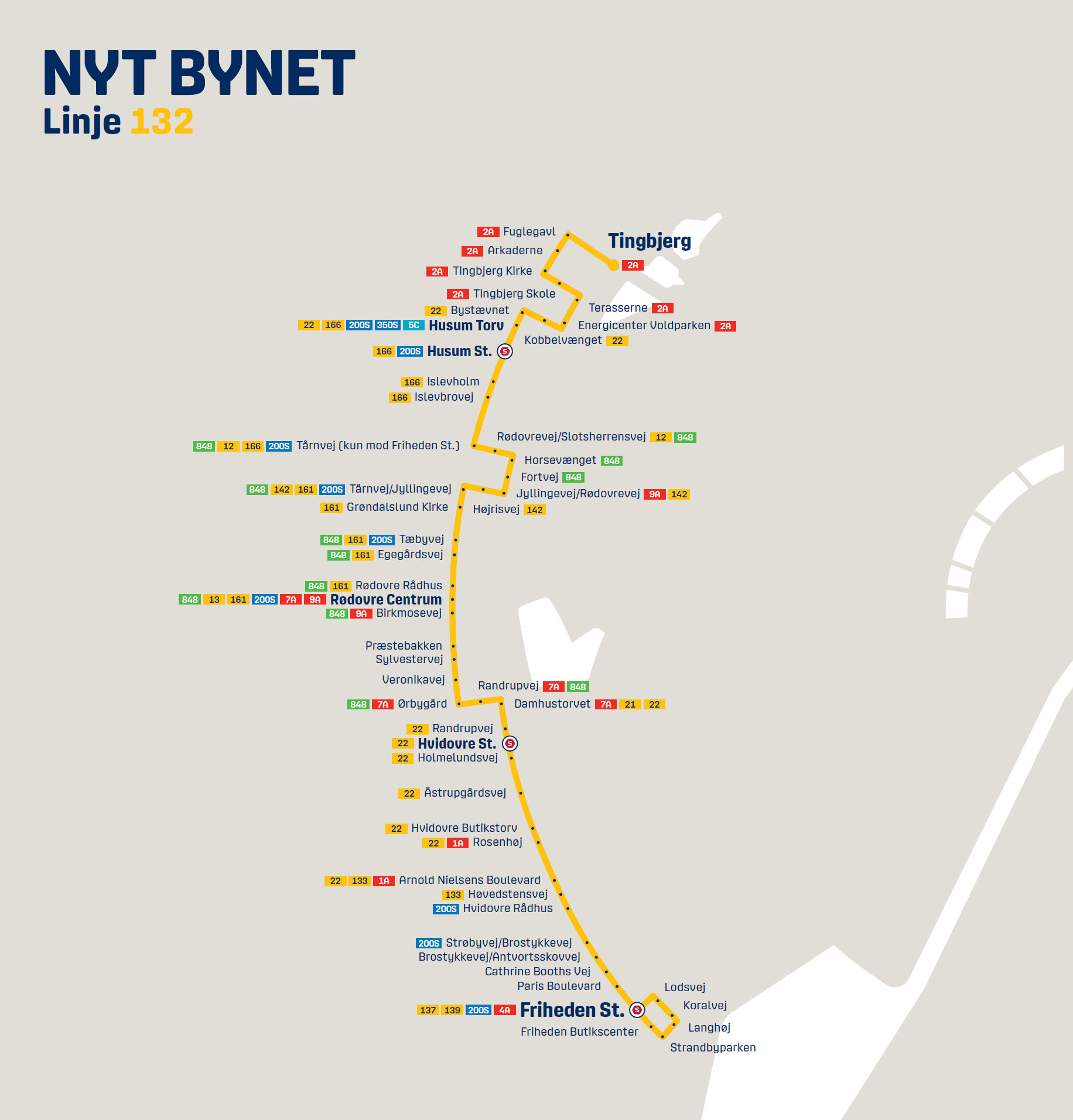 Map of the new line 132 in Nyt Bynet