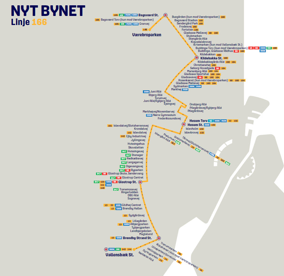 Map of the new line 166 in Nyt Bynet