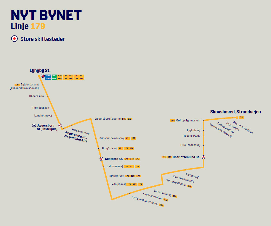 Map of the new line 179 in Nyt Bynet