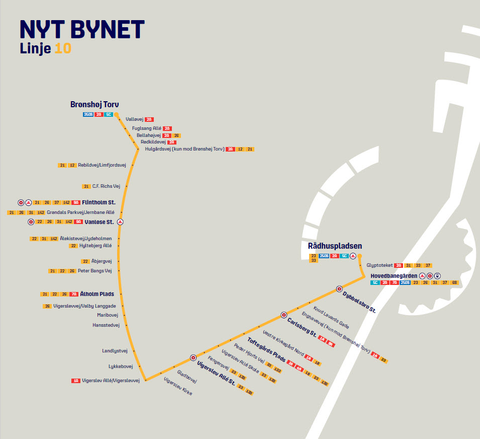 Map of the new line 10 in Nyt Bynet