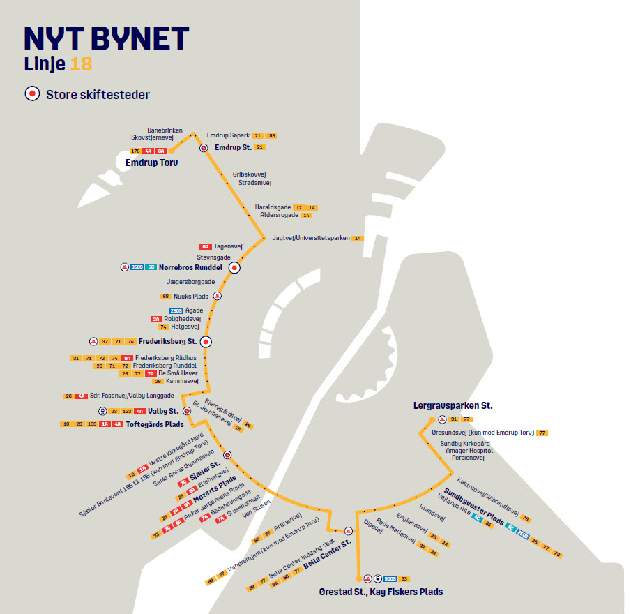 Map of the new line 18 in Nyt Bynet