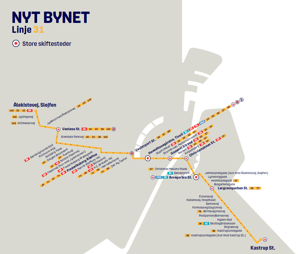 Map of the new line 31 in Nyt Bynet