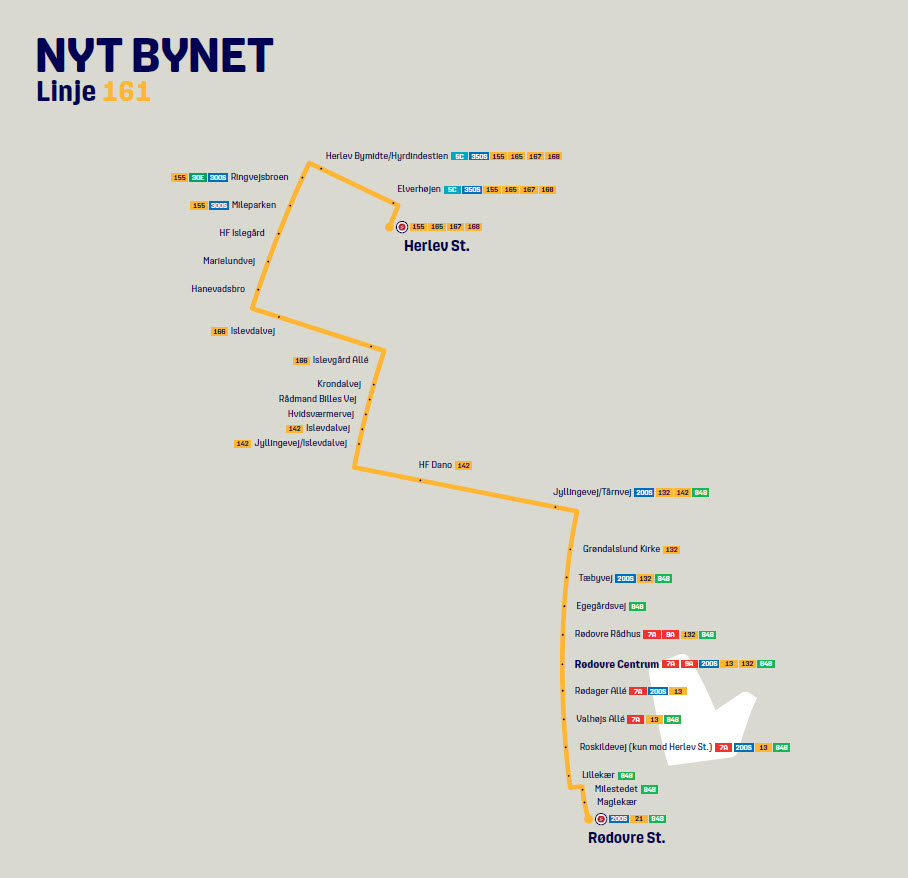 Map of the new line 161 in Nyt Bynet