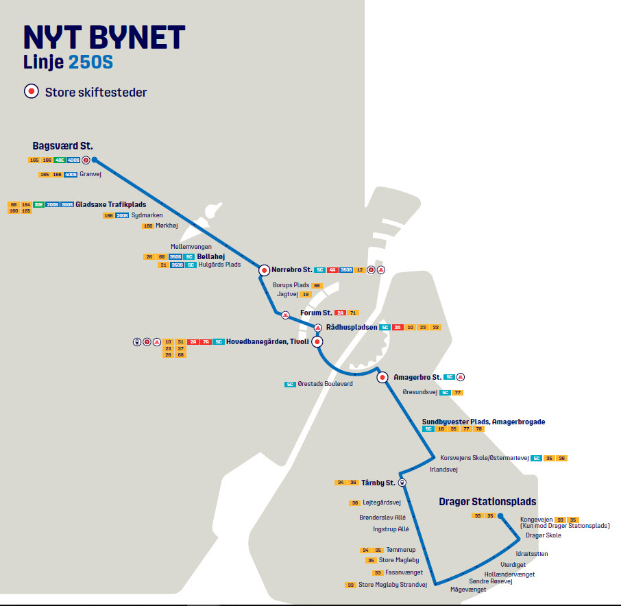 Map of the new line 250S in Nyt Bynet