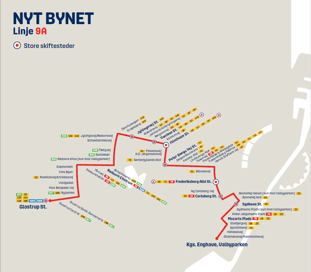 Map of the new line 9A in Nyt Bynet